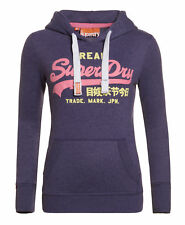 New Womens Superdry Factory Second Vintage Logo Duo Hoodie Lex Purple Marl