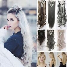 Extra Thick Remy Clip In Hair Extensions Long Straight Curly Wavy 8 Pieces fkc