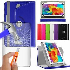 For Barnes & Noble Galaxy Tab 4 NOOK Tablet - Glass & Rotating PU Leather Case