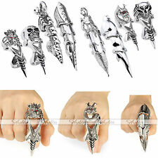 Scroll Knuckle Armor Spike Full Double Finger Ring Rock Gothic Punk Halloween AY