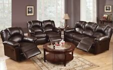 3 PC Set Sofa Loveseat Chaise Couch Recliner Leather Living Room Furniture Brown