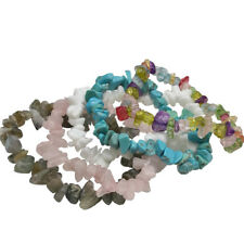 GEMSTONE Crystal Chip Beaded Stretch Gift Charm Reiki Healing BRACELETS #zx