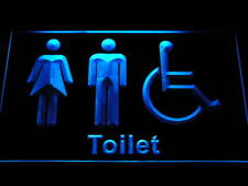 "16""x12"" i1033-b Unisex Toilet with Disabled Restroom Washroom Neon Sign"