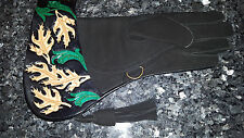 "Falconry glove 15""  black and green  oak leaf design double layered  all sizes"
