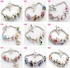 New Lampwork Glass Silver European Porcelain Beaded Charm Clasp Bracelet T180