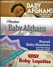 KNIT & CROCHET PATTERNS BABY AFGHANS LAYETTES SWEATERS HATS BOOTIES *YOU CHOOSE