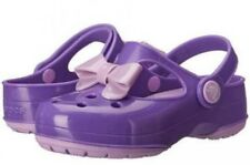 New Crocs Girls Carlie Bow Mary Jane Shoes Size 9, 11 Neon Purple/Iris