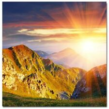 Abstract Stretched Canvas Print Wall Art Sun Over Mountains, Original (Square)