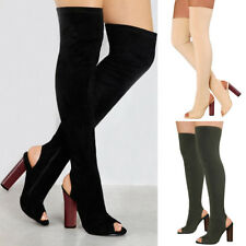WOMENS LADIES OPEN TOE THIGH HIGH KNIT STRETCH OVER KNEE BLOCK HEELS BOOTS SHOES