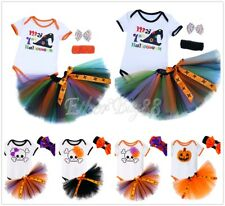 Baby Girl Infant My Fisrt Halloween Costume Romper Tutu Dress Headband Outfits