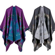 Women's Star Printed Top Poncho Knit Sweater Cape Warm Coat Outwear Jacket K8R4