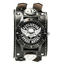 Affliction Speed Metal Watch Black White Leather Wide Band Stainless