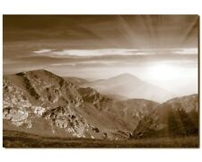 Abstract Stretched Canvas Print Wall Art Sun Over Mountains, Sepia