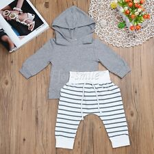 Infant Baby Boys Girls Kids Casual Hooded Tops+Long Pants Outfits Clothes Sets
