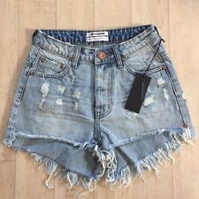 One Teaspoon Short Jeans 24 25 26 28 Distressed High W BONITAS Trashed Denim NWT