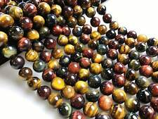 """Multicolor Tiger Eye Smooth Round Loose Beads Size 4/6/8/10mm 15.5"""" Long/Strand"""