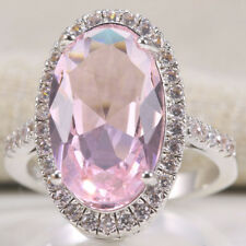 925 Silver Natural Oval Cut Huge Pink Sapphire Gem Wedding Engagement Ring 6-10