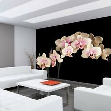 "Fleece Photo Wallpaper ""Creamy Orchid "" ! Ornaments Flowers Tendril"