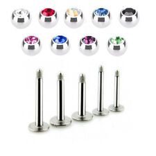 2 PC 16G CZ Gem Steel Labret Helix Tragus Lip Chin Piercing Monroe Ear Stud Ring