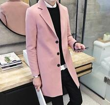 Mens Slim Fit Korean  Woolen Coat Maxi Long Buttons Outwear Warm Trench Coat W
