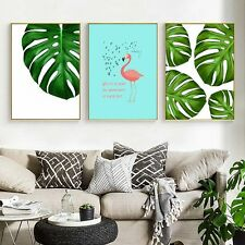 Nordic Decoration Leaves Flamingo Motivational Canvas Art Posters Prints