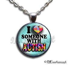 Handmade Glass Pendant Necklace Autism Awareness Hope Ribbon Love WD142