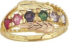 Finely Detailed 10K Black Hills Gold 2-6 Genuine Stones Mothers Ring