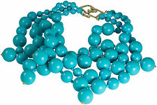 KENNETH JAY LANE-3 STRAND TURQUOISE COLOR BEADS CLUSTER DROPS NECKLACE