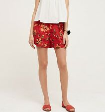 ANTHROPOLOGIE Lilka Red Linen Floral Hazel Shorts NwT Small