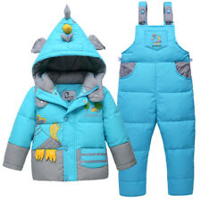 BibiCola Baby Girls Boys Snowsuit Winter Jackets Outerwear+Overalls Jumpsuit Set