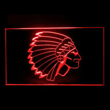 220096 Indian Chief Head Vintage Red Skin Attraction Exhibit LED Light Sign