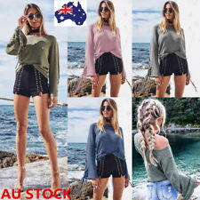 Women Long Sleeve Loose Knitted Sweater Pullover Flared Sleeve Tied Crop Tops