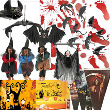 Halloween Wall Sticker Hanging Bats Witch Flags House Bar Party Decoration Kit