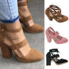 Womens Ankle Strap Suede Pointed Toe Gladiator Block High Heels Pump Shoes Size