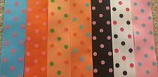 "Polka Dot 1.5"" 1 1/2 Grosgrain Ribbon Hot Pink Black Turquoise Orange Green Bow"