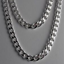 """Heavy 9mm 24"""" Solid 925 Sterling Silver Cuban Link 6 Sided Curb Chain 67 grams"""