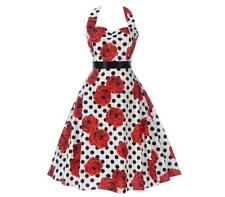 Women Retro Rose Polka Dot Printed Tie Neck Tie Waist Swing Knee Length Dress