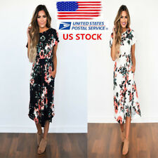 US Womens Boho Mid-Calf Dress Floral Loose Beach Short Sleeve Dresses Sundress