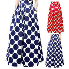 Fashion Women High Waist Swing Skater Flared Pleated Skirt Long Polk Dot Skirts
