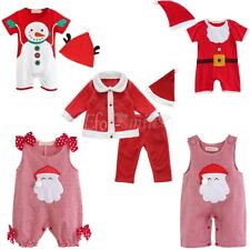 Newborn Baby Girl Boy Long Sleeve Romper+Santa Hat XMAS Outfits Set Clothes