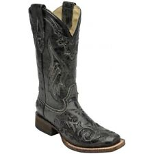 Corral Women's Black Snake Inlay Square Toe Cowboy Boot A2402