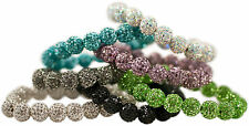 10MM STACKABLE HANDSET CRYSTAL CLAY BEADS (19 BEADS) STRETCH BRACELET, ONE SI...