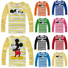 Kids Boys Girls Striped Long Sleeve T-Shirt Tops Mickey Mouse Casual Pullover