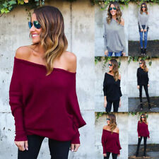 US Women One Shoulder Long Bat Sleeve Knitted Sweater Casual Loose Outwear Tops