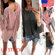 Womens Long Sleeve Loose Casual Tops Back Zipper T-shirt Blouse Knitted Sweater