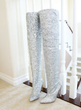 Super Model Silver Glitter Stretch Slouchy Over Knee Boots Stiletto Heel