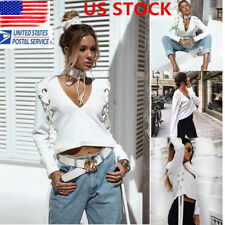 US Womens Lace Up Long Sleeve Tops V-neck Casual Loose Blouse T Shirt Crop Top