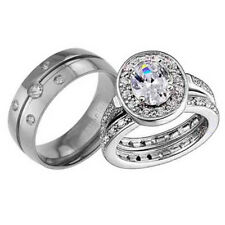 His Hers Titanium Sterling Silver Cubic Zirconia Wedding Bridal Ring Set