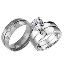 His Hers Titanium Sterling Silver Cubic Zirconia Wedding Bridal Ring Set AI