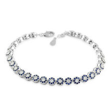 """Womens Solid 925 Sterling Silver CZ  Simulated Sapphire RH 7""""  Tennis Bracelet"""